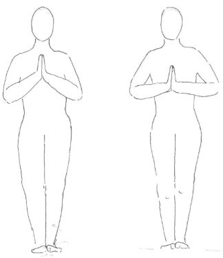 Protáhněte ruce v modlitbě.